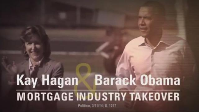 A still image from the 60 Plus Association mortgage industry ad against Hagan.