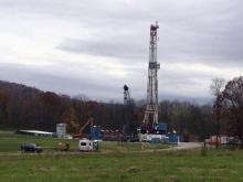 Fracking site, natural gas drilling well