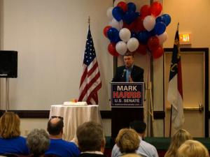 Senate candidate Mark Harris, a Charlotte Pastor, speaks durring a rally in Greensboro on April 19, 2014.