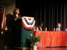 Heather Grant, a candidate for U.S. Senate, speaks during a candidates forum in Craven County on April 19, 2014.