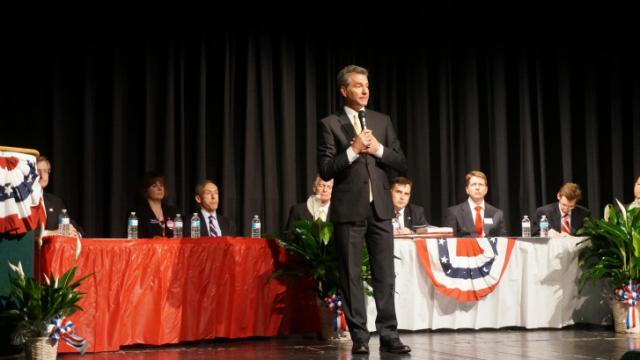 U.S. Senate candidate Greg Brannon, a Cary doctor, speaks during a candidates forum in Craven County on April 19, 2014.