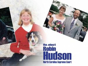 This is a still image from Justice Robin Hudson's response ad.