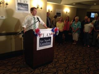 Clay Aiken speaks to supporters on May 6, 2014, after engaging in a tight race for the Democratic nomination in the 2nd Congressional District.