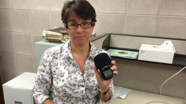 Rose Hoban, a reporter for N.C. Health News, shows the recorder that was confiscated by the Senate Sergant at Arms.