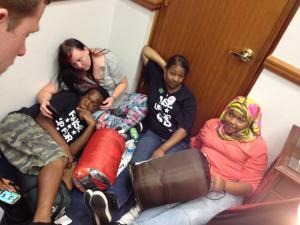 Protesters roll out sleeping bags during a sit-in at Speaker of the House Thom Tillis' office on May 27, 2014. (Zac Gooch/WRAL)