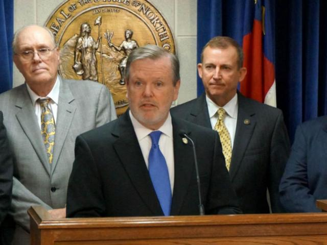 Senate President Pro Tem Phil Berger discusses a teacher pay proposal during a May 28, 2014, news conference.<br/>Photographer: Bill Herrero