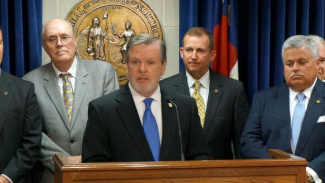 Senate President Pro Tem Phil Berger discusses a teacher pay proposal during a May 28, 2014, news conference.