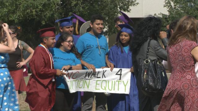 Five undocumented students walked from Charlotte to Raleigh this month to call attention to their quest for in-state tuition eligibility.