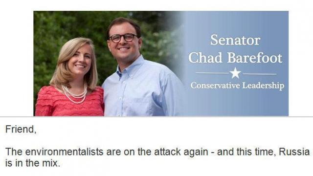 This is the header for an email that state Sen. Chad Barefoot recently sent out.