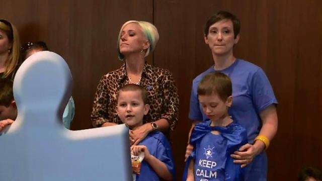 Autism Speaks held a July 15, 2014, news conference at the General Assembly to press for a Senate vote on legislation that would require insurers to cover behavioral treatment of autism.
