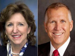 Democratic U.S. Sen. Kay Hagan and Republican challenger Thom Tillis