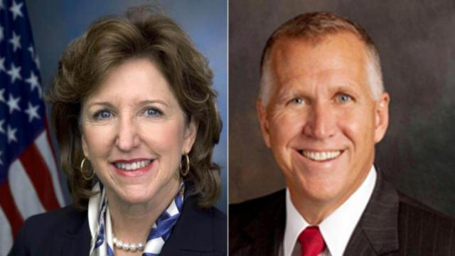 Democratic U.S. Sen. Kay Hagan and Republican challenger Thom Tillis