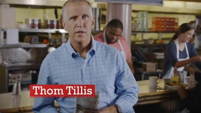 This is an image from a Thom Tillis campaign ad aired in August, 2014.