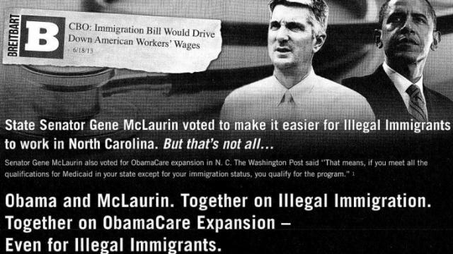 "A N.C. Republican Party flier accusing Sen. Gene McLuarin, D-Richmond, of being an ""Obama Republican"" due to an immigration vote."