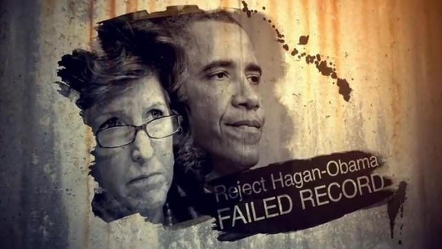 "This is a still image from the Crossroads GPS ad, ""Partisan,"" that began running Sept. 30, 2014 in the U.S. Senate race between Sen. Kay Hagan, D-N.C., and state House Speaker Thom Tillis, R-Mecklenburg."