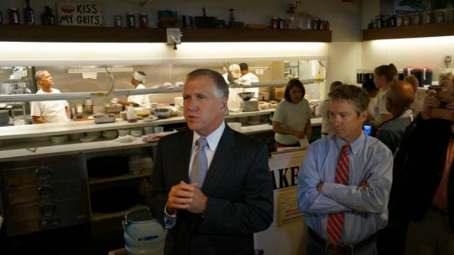 State House Speaker Thom Tillis, R-Mecklenburg, and U.S. Sen. Rand Paul, R-Ky., speak at Big Ed's City Market Restaurant on Oct. 1, 2014.