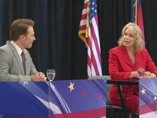 Republican 2nd District Congresswoman Renee Ellmers and Democratic challenger Clay Aiken debate on Oct. 6, 2014.