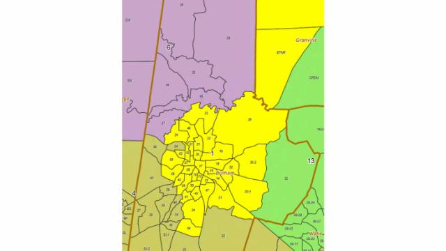 Durham County is split between four congressional distrcits: 1st, 4th, 6th and 13th.