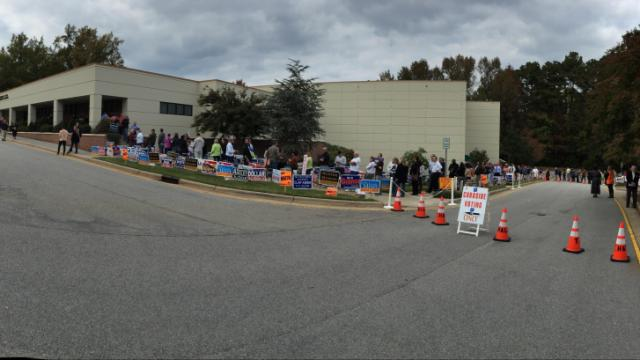 Early voters line up in Cary on Oct. 31, 2014.