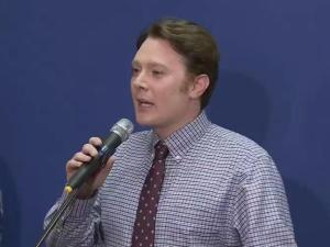 Clay Aiken addresses his supporters after losing to Rep. Renee Ellmers on Nov. 4, 2014.