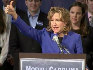 Kay Hagan addresses her supporters after the election on Nov. 4, 2014.
