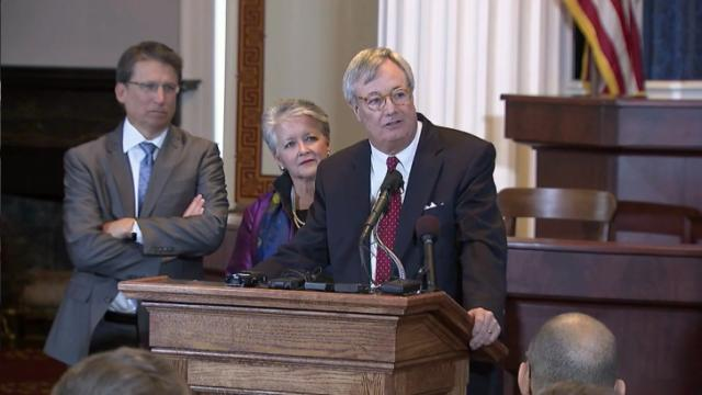 Secretary of Environment and Natural Resources John Skvarla speaks during a Dec. 2, 2014, news conference at which Gov. Pat McCrory announced Skvarla would succeed Commerce Secretary Sharon Decker, who is stepping down to take a private-sector job.
