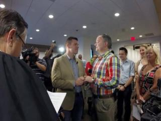 A Wake County magistrate marries a same-sex couple after a federal court ruling overturned North Carolina's constitutional prohibition against gay marriage.