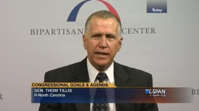 U.S. Sen. Thom Tillis speaks on C-Span.