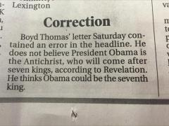 Lexington Dispatch correction