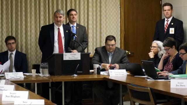 Sen. Buck Newton, R-Wilson, speaks about a bill that allows magistrates to excuse themselves from performing weddings. He spoke to the Senate Judiciary 2 Committee on Feb. 23, 2015.