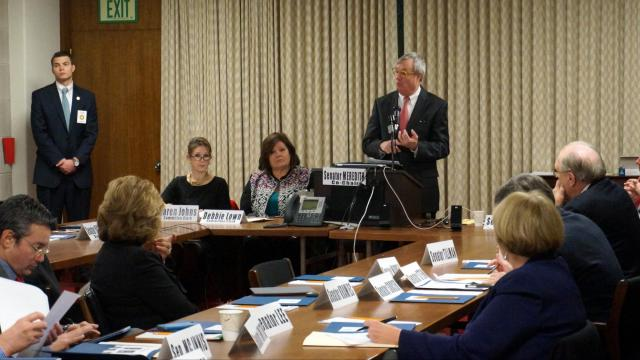 Commerce Sec. John Skvarla speaks to the Seante Commerce Committee on Feb. 23, 2015.