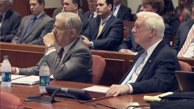 Former Gov. Jim Martin, left, and former Gov. Jim Hunt listen to arguments during a March 5, 2015, hearing on whether the General Assembly or North Carolina's governor has the power to appoint members to state commissions.