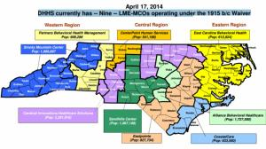 Map of LME-MCOs caring for mental health consumers in NC
