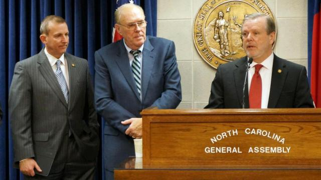 Senate President Pro Tem Phil Berger, right, is joined by Sens. Harry Brown, R-Onslow, and Jerry Tillman, R-Randolph, in a March 18, 2015, news conference to announce an economic incentives bill.