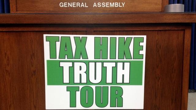 Dem presser sign, April 15