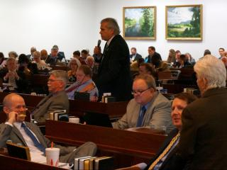 Rep. John Torbett, R-Gaston, debates a transportation-related amendment in the state House budget on May 22, 2015.