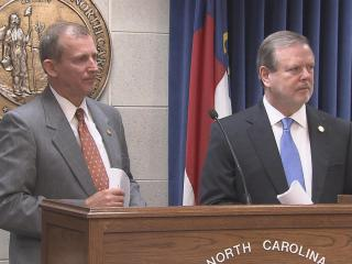 Senate Majority Leader Harry Brown, R-Onslow, left, and Senate President Pro Tem Phil Berger, R-Rockingham, discuss the Senate's 2015-16 budget proposal during a June 15, 2015, news conference.