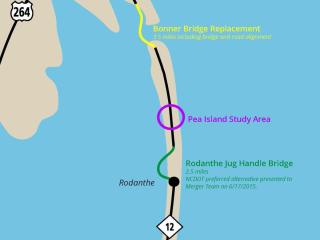 The graphic provided by the N.C. Department Transportation shows the plans for the Bonner Bridge replacement and long-term solutions for N.C. Highway 12 (not drawn to scale).