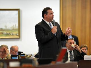 Rep. David Lewis, R-Harnett, debates the $21.7 billion state budget on Sept. 17, 2015.