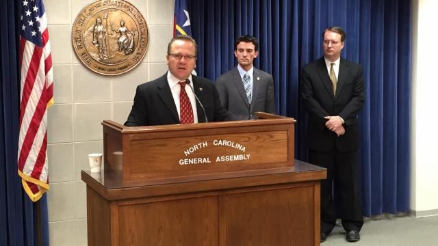 State Sen. Colby Coash of Nebraska speaks as Rep. Jon Hardister, R-Guilford, looks on duing a news conference making the conservative case against the death penalty as an inefficient government program.