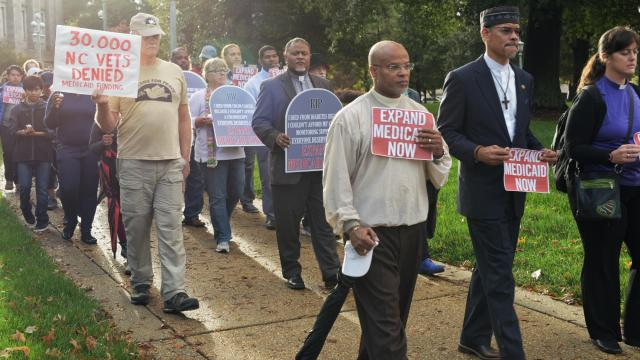 Demonstrators say the refusal by state lawmakers to expand Medicaid is killing thousands of North Carolinians.