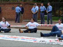 Six arrested after blocking traffic over NC immigration law
