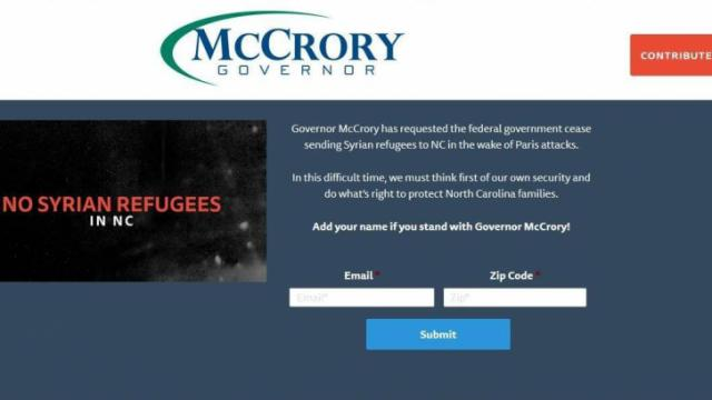 A McCrory campaign webpage raising money on the governor's stance on refugees.