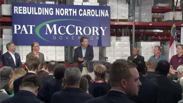 Gov. Pat McCrory launches his re-election campaign during a Dec. 2, 2015, rally in Kernersville.