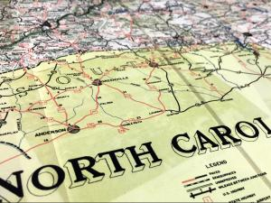 A North Carolina state highway map from 1955, before Eisenhower's Federal Interstate Highway Act.