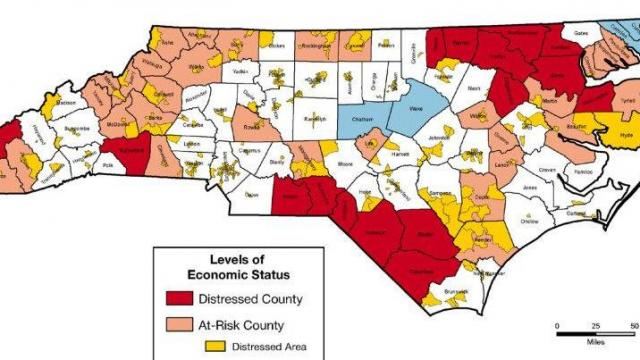 "North Carolina as view throug hthe lens of the Appalachian Regional Commission's ""distressed areas"" measures."