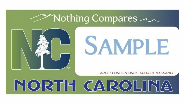 "Artist concept of the proposed ""Nothing Compares"" license plate from the N.C. Department of Commerce."