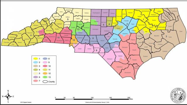 this map shows the new congressional districts drawn during the feb 18 redistricting session