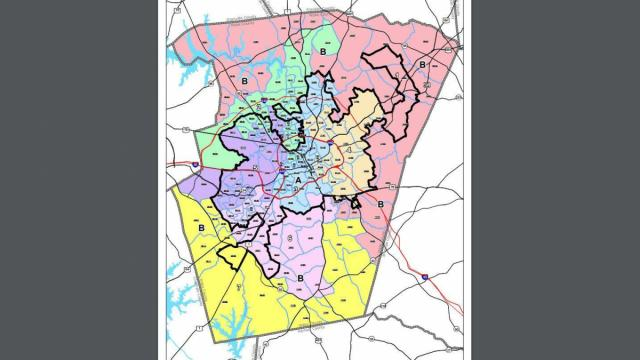 This is the map outlining new Wake County Commissioner districts.