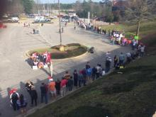 People lined up Wedensday afternoon to secure a seat inside Fayetteville's Crown Coliseum to see GOP candidate Donald Trump speak.